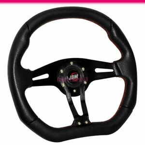 Fits Universal 350mm Pvc Leather Black Steering Wheel W Horn Red Stitch Jdm Logo