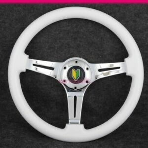 Universal 350mm White Wood Grain Steering Wheel Chrome Spokes With Bd Logo