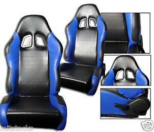 2 Black Blue Leather Racing Seats Reclinable Sliders Volkswagen New A