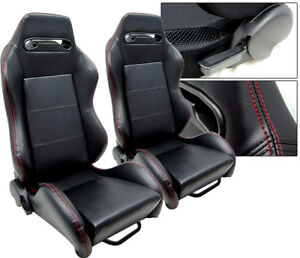 1 Pair Black Leather Red Stitch Racing Seats Reclinable Fit For Nissan