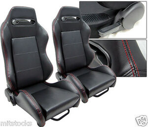 2 Black Leather Red Stitch Racing Seats Reclinable Sliders Volkswagen New
