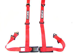 Sparco Racing Street 4 Point Bolt In 2 Seat Belt Harness Red