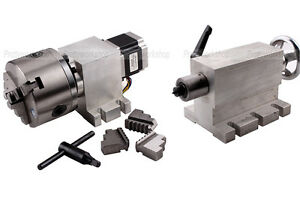 Cnc Router Rotational 4th Axis A Axis 3 jaw 100mm Chuck Gear Box 1700 tailstock