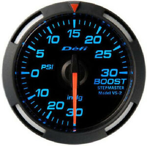 Defi Racer Turbo Boost Gauge 30inhg To 30psi 52mm W Blue Led Df06501 New