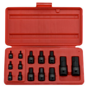14 Pc 1 4 3 8 1 2 Impact Hex Socket Set Mm 2 5 To 19 Cr Mo Harden Steel