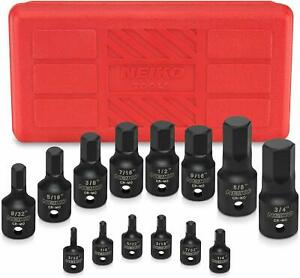 14pc Sae Hex Impact Socket Set 1 4 3 8 1 2 Drive Heavy Duty Crmo Steel