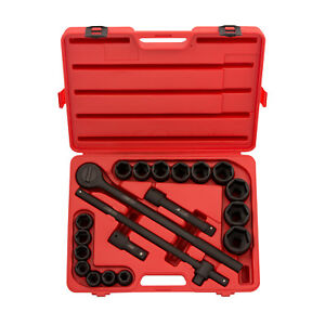 3 4 Drive Impact Socket 21pc Sae Set Ratchet Standard 6 Point Auto Mechanics