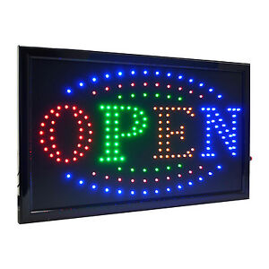 Large 4 Color High Visible Led Light Business Open Sign Chain Switch 21 5 x13