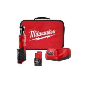 Milwaukee M12 Cordless 3 8 Ratchet Wrench With Battery Charger And Case