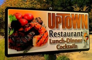 Large Lighted Outdoor Business Sign restaurant Double Sided Approx 8x5