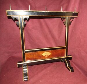 Antique Japanese Lacquer On Wood Candel Stand