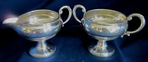Creamer And Sugar Bowl Sterling Silver Marked M Sterling