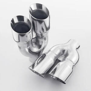 Pair Quad 3 Out Exhaust Tips 2 25 In Staggered Stainless Dual Wall Angle Cut