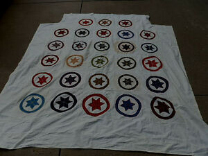 Antique Star Quilt Top Hand Made Beautiful Feather Stitch Made In 1906