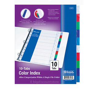 1 Pack Of Bazic 3 Ring Binder Dividers With 10 Color Tabs 3107 Divider Tap