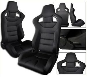 1 Pair Black Cloth Racing Seats Reclinable All Chevrolet