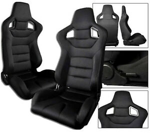 2 X Black Cloth Racing Seats Reclinable W Sliders Fit For All Ford Mustang