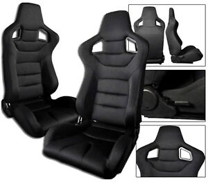 2 Black Cloth Racing Seats Reclinable All Bmw New