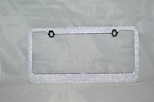 7 Rows Clear white Bling Crystal Rhineston License Plate Frame
