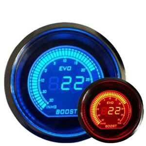 2 52mm Turbo Boost Vacuum Car Digital Led Meter Gauge Tint Lens Blue Red 7060