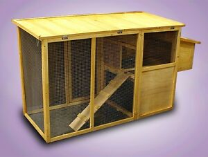 Wood Xl All in one Chicken Coop Rabbit Hutch Nest Box Hen House Poultry Cage J09