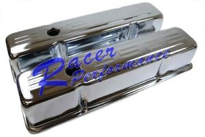 Chrome Steel Small Block Chevy 350 Logo Tall Valve Cover Sbc 283 305 327 400