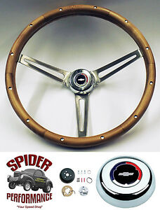 1955 1956 Bel Air 210 150 Steering Wheel Red White Blue Bowtie 15 Walnut