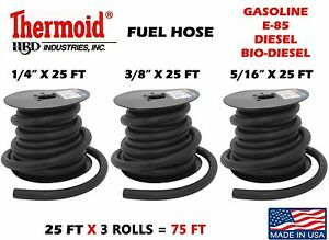 1 4 3 8 5 16 X 25 Ft 3 Rolls Gas Fuel Line Gasoline Thermoid Made In Usa Made