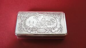 Rare Antique 18th C Hand Carved Guilloche Rococo Italian Silver Snuff Box Italy