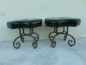 Pair Of Chic Stylish Mid Century Hollywood Regency Iron Patent Vinyl Benches