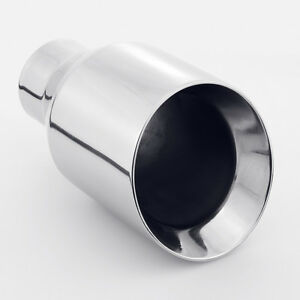 2 25 Inlet 4 Outlet 7 Length Dual Wall Slant 304 Stainless Steel Exhaust Tip