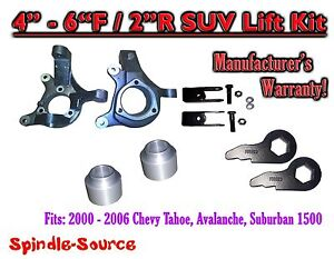 00 06 Chevy Suburban Tahoe Avalanche 1500 4 6 Lift Kit Spindle Torsion Key Ext