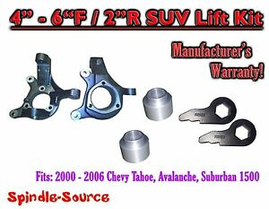 00 06 Chevy Suburban Tahoe Avalanche 1500 4 6 Lift Kit Spindle Torsion Keys