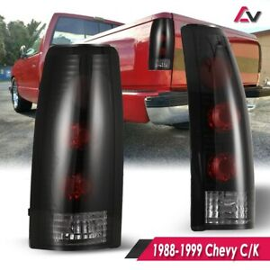 Taillights For 1988 1998 Chevy Gmc C k 1500 2500 3500 Black Smoke Rear Lamp Pair