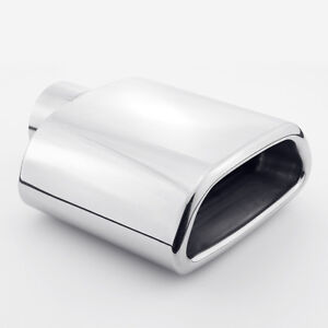 2 25 Inlet Trapezoid Out Resonated Rolled Edge 304 Stainless Steel Exhaust Tip