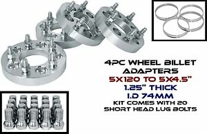4 Bmw 5x120 Mm To 5x4 5 1 25 Thick Wheel Spacers Adapters Changes Lug Pattern