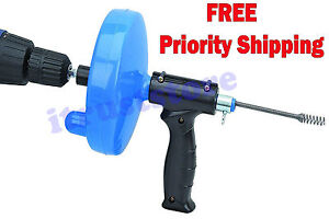 Hand Crank Drill Operated Powered Plumbing Drain Cleaner Snake Cable Auger Tool