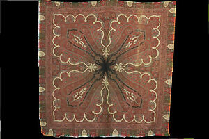 Antique Paisley Shawl W Gorgous Intricacies Coral Center 19th C 70 X 70