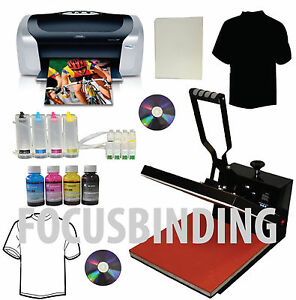 15x15 Heat Press printer ciss ink Refills Transfer Paper Tshirt Start up Bundle