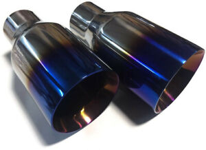 Set Of 2 Blue Burnt Exhaust Tips Polished Stainless Steel 2 5 In 4 Out