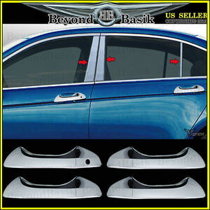 2008 2012 Honda Accord 4door 6pc Stainless Pillar Post Chrome Door Handle Covers