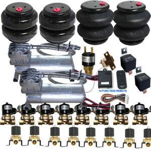 Air Ride Suspension Kit Compressor Valves Tank 2500 2600 Bags Wireless