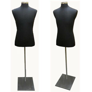 Black Male Dress Body Form With Metal Base