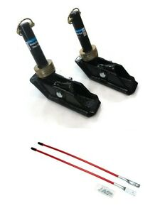 2 New Square Snow Plow Shoe Skid Foot Assemblies W Blade Markers Snowblade