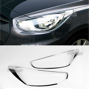 Chrome Front Head Light Lamp Cover Molding For Hyundai 2011 2016 Verna Accent