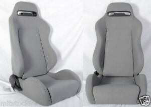 New 2 Gray Cloth Racing Seats Reclinable W Slider All Toyota