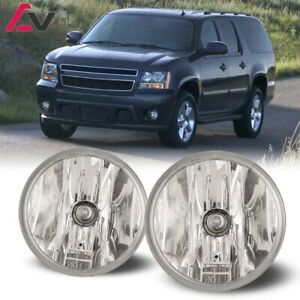 For Chevy Suburban 07 14 Clear Lens Pair Round Fog Light Lamp Oe Replacement