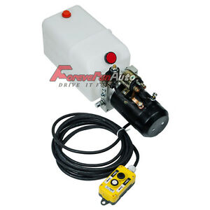 2200w Dc 12v Volt 6 Quart Single Action Hydraulic Pump high Power Dump Trailer