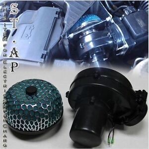 Air Intake 75mm Electric Supercharger Fuel Gas Saver Hp 3 Inch Filter Green