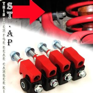 Civic Crx Delsol Integra Jdm Suspension Adj Adjustable Front Camber Kits Red